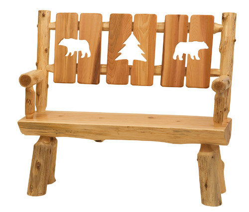 Log Bench with Cut-Out Back