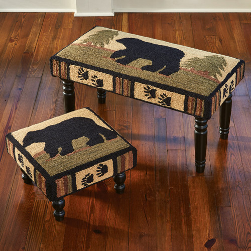 Black Bear Tracks Footstool and Bench