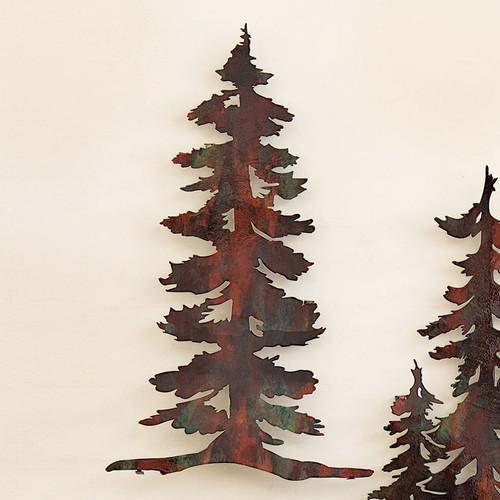 1 Pine Tree Copper Finish Metal Wall Art