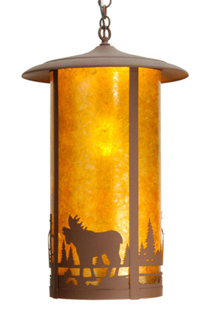 16 Inch Moose On Fulton Hanging Lantern Light