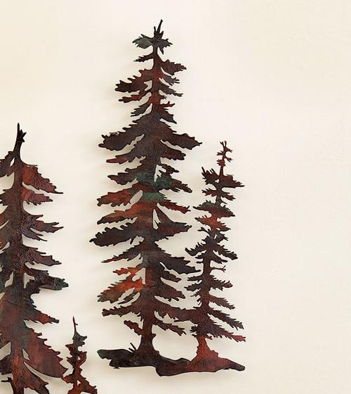 2 Pine Trees Copper Finish Metal Wall Art