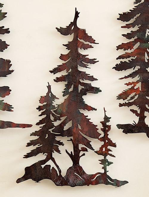 3 Pine Trees Copper Finish Metal Wall Art