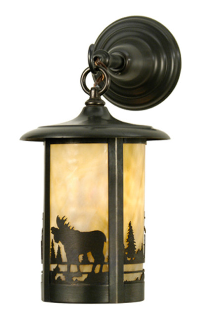 8 Inch Moose In The Woods Lantern Wall Sconce