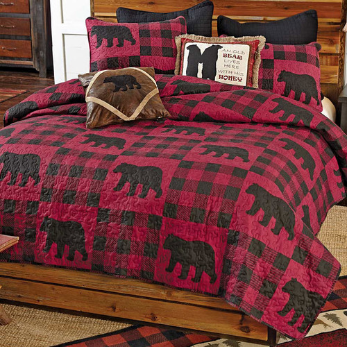 Buffalo Plaid Bear Red Quilt Bedding Collection