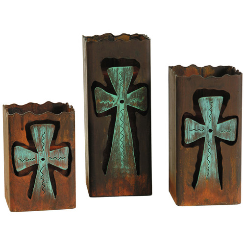 Rustic Metal Cross Candle Holders (Set of 3)