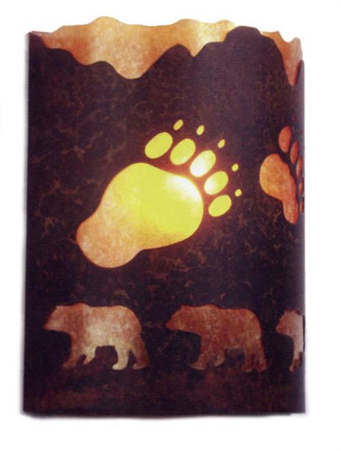 Amber Mica Bear Sconce- Rust