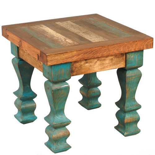 Old Wood Turquoise Table