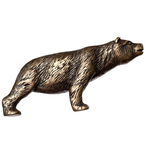 Antique Brass Stretching Bear Knob