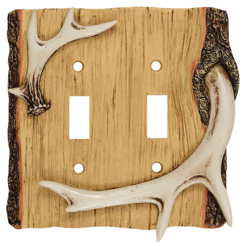 Antler & Wood Double Switch Cover