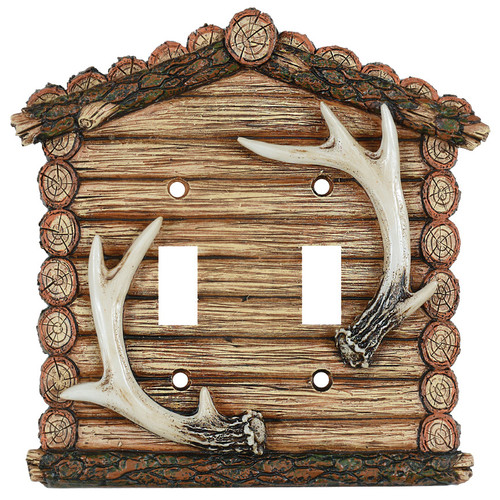 Antler Cabin Double Switch Cover