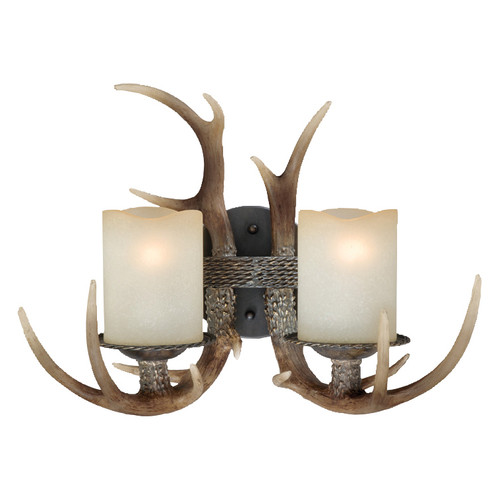 Cast Antler Double Wall Lamp