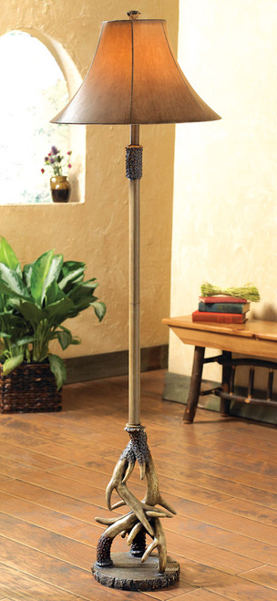 Antler Floor Lamp with Faux Leather Shade