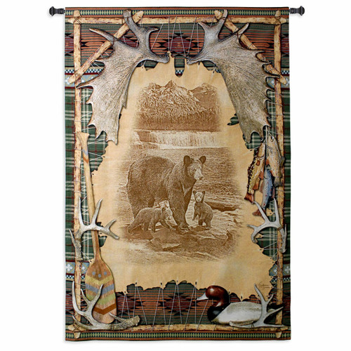 Antler Lodge Large Wall Tapestry