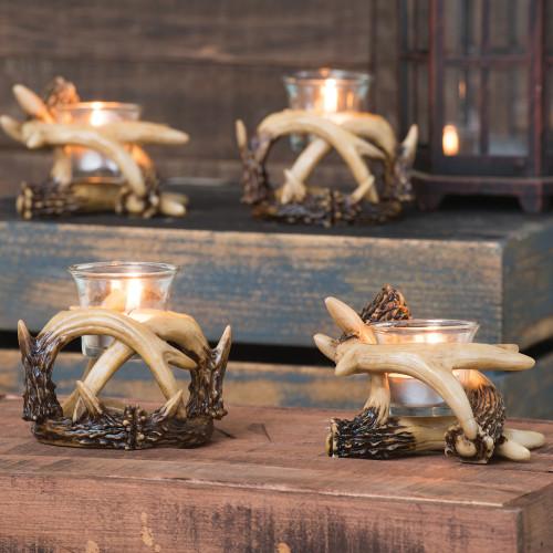 Antler Votive Candle Holders (Set of 2)