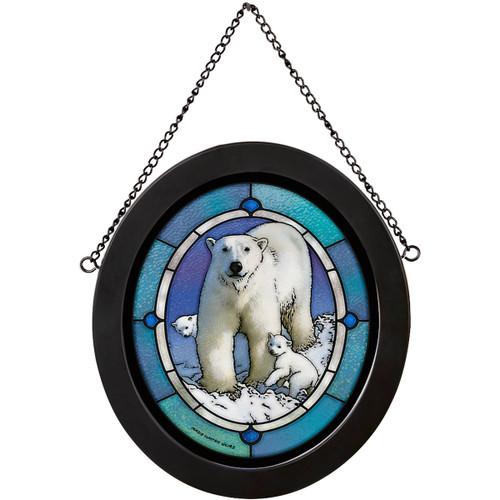 Arctic Polar Bears Stained Glass Art