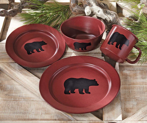 Crimson Bear Enamel Dinnerware