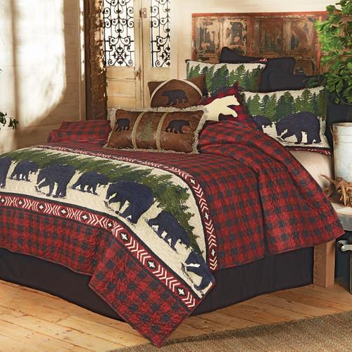 Arrowhead Plaid Bear Quilt Set - Queen