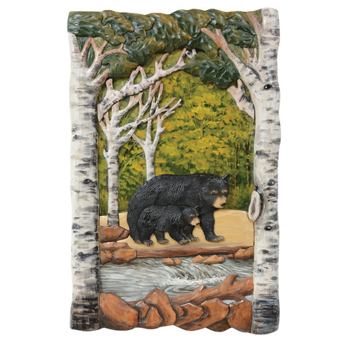 Aspen Forest Bears Carved Wood Wall Art