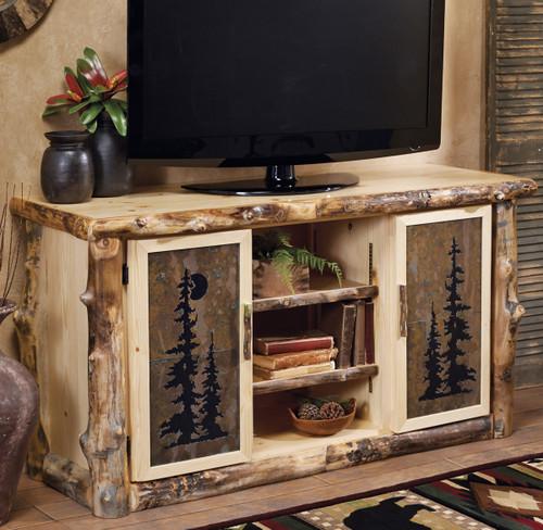 Aspen Log Natural Slate TV Console