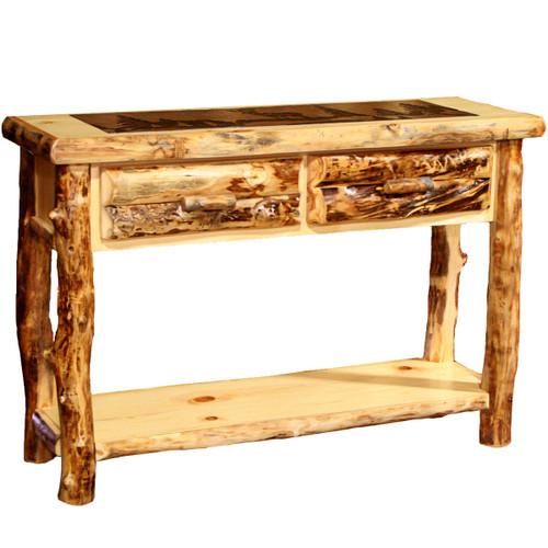 Aspen Sofa Table with Slate Top - Cowboy