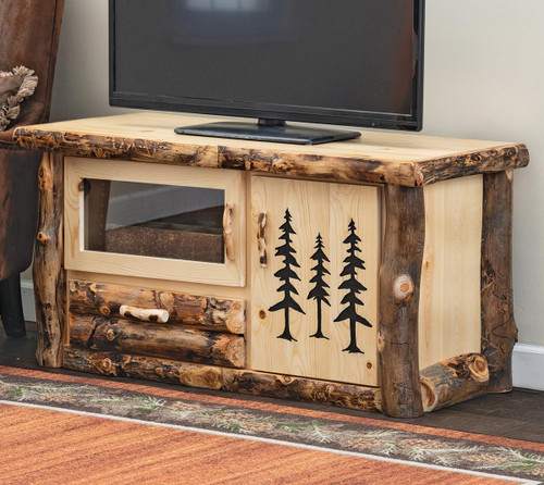 Aspen Log TV Stand with Carved Trees