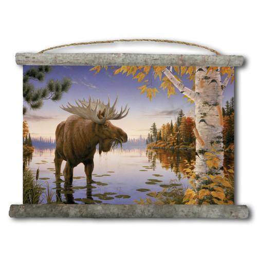 Autumn Majesty Moose Canvas Wall Scroll