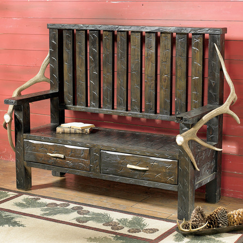 Elk Antler & Barnwood Bench