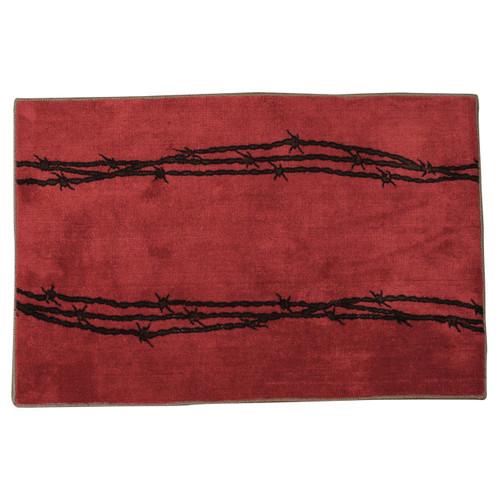 Barbed Wire Red Bath Rug