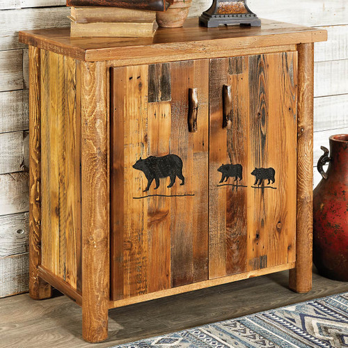 Barnwood 2 Door Cabinet with Bear Carving