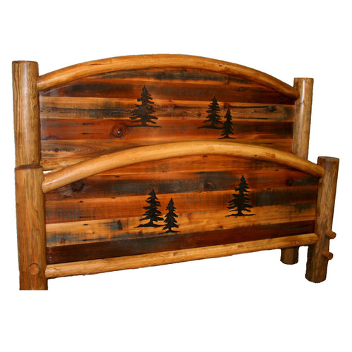 Barnwood Arched Bed with Tree Carvings - King