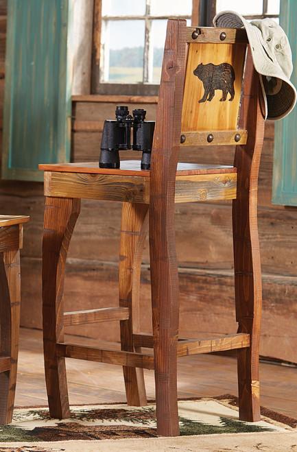 Barnwood Barstool w/ Carved Bear - Bar Height