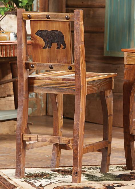 Barnwood Barstool w/ Carved Bear - Counter Height