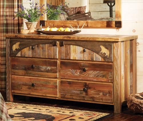 Barnwood Bear Carvings Dresser