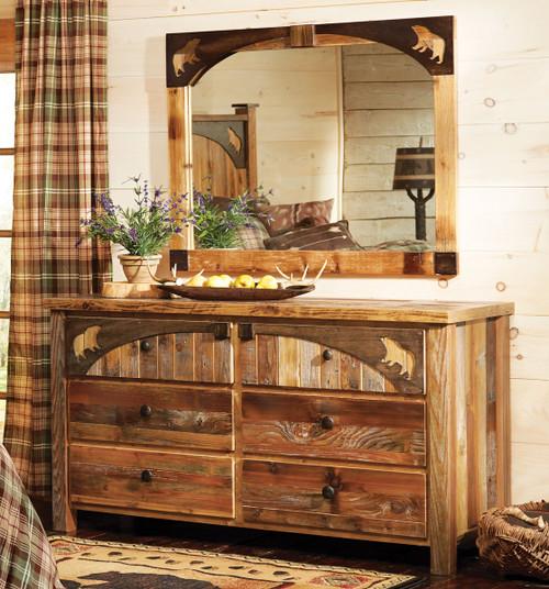 Barnwood Bear Carvings Dresser with Mirror