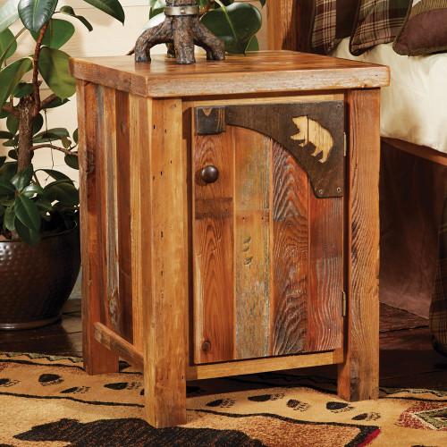 Barnwood Bear Carvings Nightstand