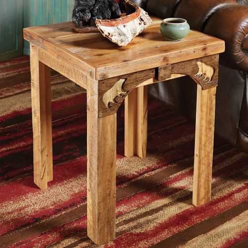 Barnwood Bear End Table