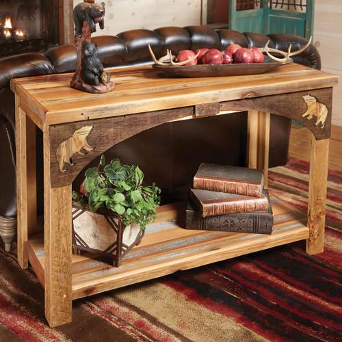Barnwood Bear Sofa Table