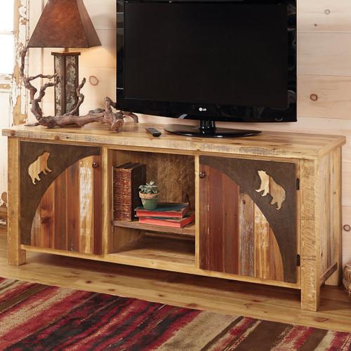 Barnwood Bear TV Stand