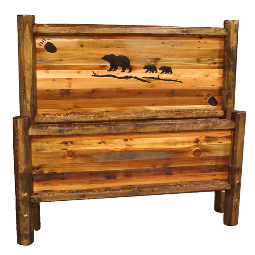 Barnwood Bed with Bear Family Carving - Full