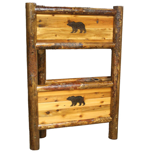 Barnwood Bunkbed with Bear Carving - Twin/Queen