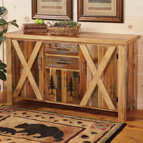 Barnwood Carved Pine Tree Cabinet