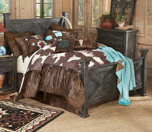 Barnwood Double X Bed - Queen