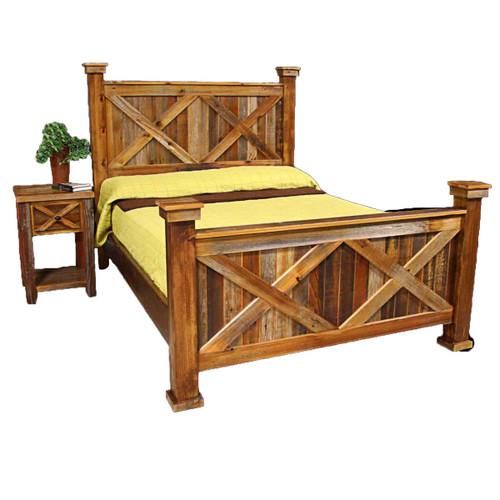 Barnwood Double X Bed - Twin