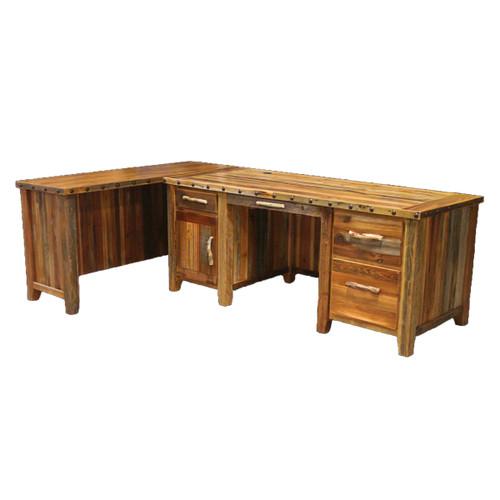 Barnwood Executive Desk with Left Return & Nailheads