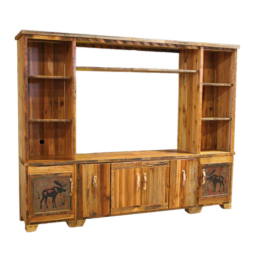 Barnwood Extra Large Entertainment Center with Moose Tiles