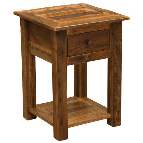 Barnwood One Drawer Nightstand with Open Shelf