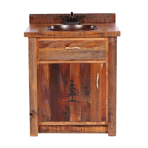 Barnwood Vanity with Carved Tree Design - 30 Inch