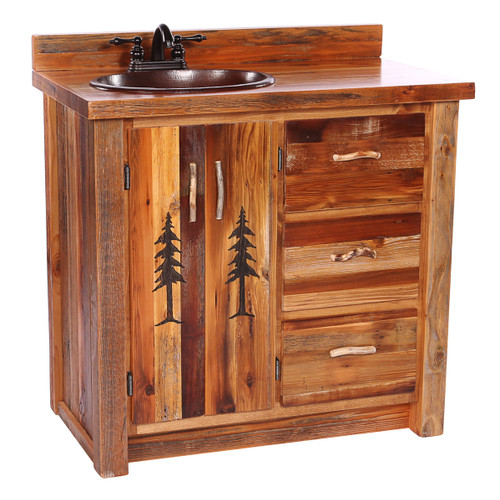Barnwood Vanity with Carved Tree Design - 36 Inch