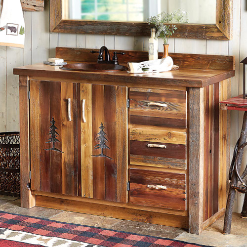 Barnwood Vanity with Carved Tree Design - 48 Inch