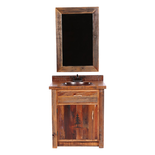 Barnwood Vanity with Carved Tree Design with Mirror - 30 Inch